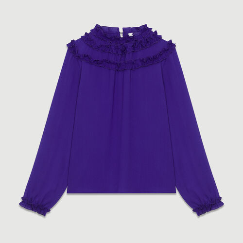 Top de crepé con volantes : Tops color Violeta