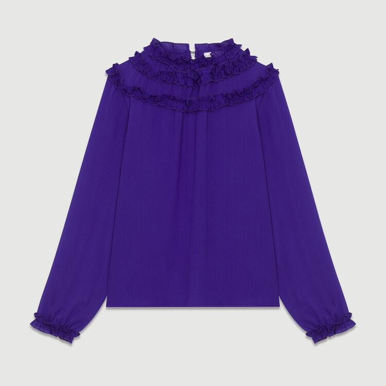 Top de crepé con volantes : Tops color Violeta
