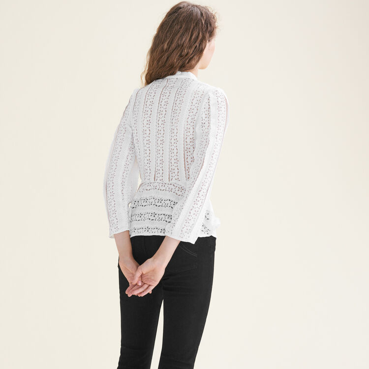Top bordado con tiras : Tops color Blanco