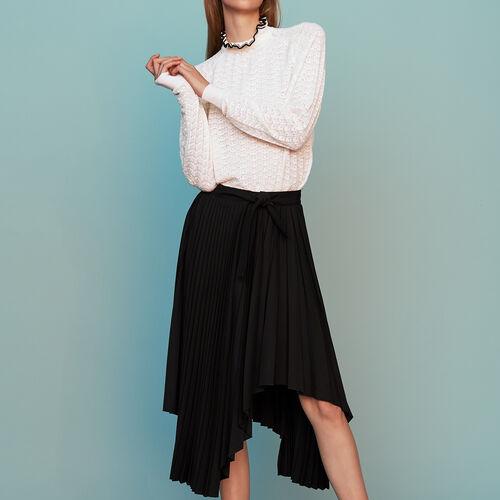 Falda plisada asimétrica : Faldas y shorts color Negro