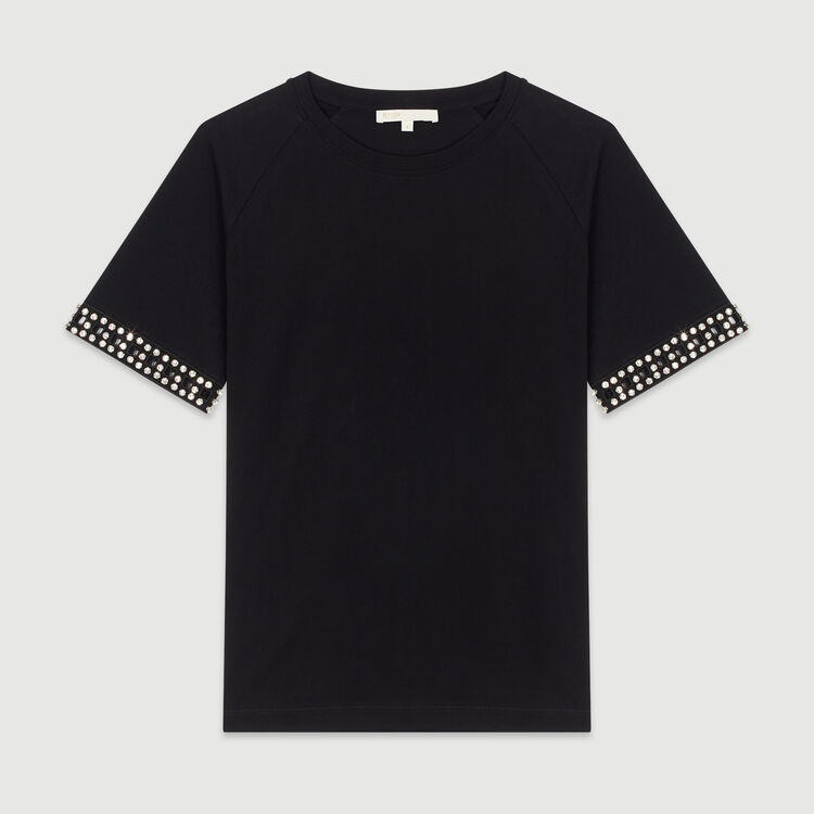 Camiseta calada con strass : T-Shirts color NEGRO