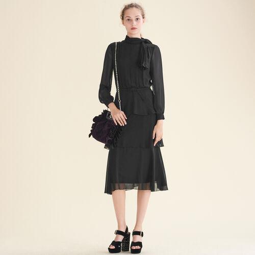 Vestido vaporoso con volantes : Vestidos color Negro