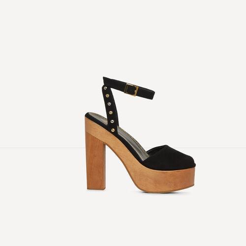 Sandalia con tacón de madera : Ver todo color Negro