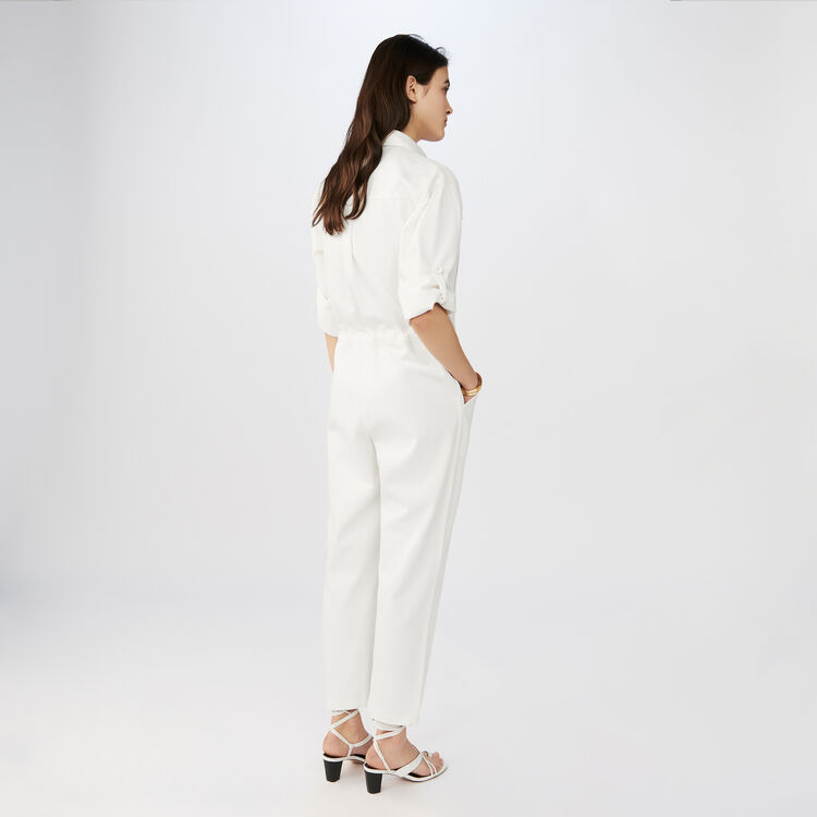 Jumpsuit with long sleeves : Jeans color ECRU