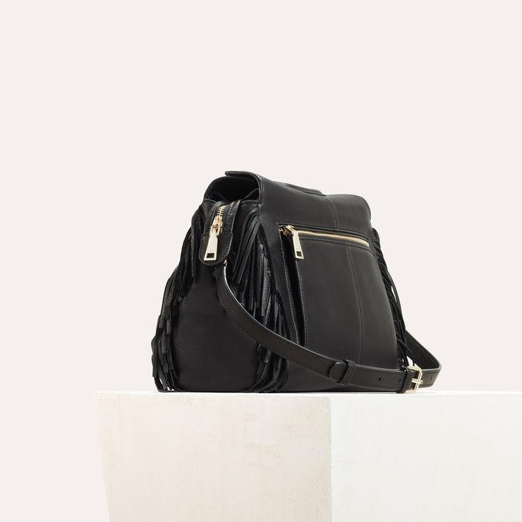 Bolso MWALK de cuero con flecos : M Walk color Negro