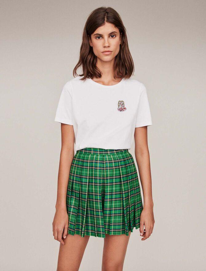 Camiseta algodón con bordados y strass - T-Shirts - MAJE