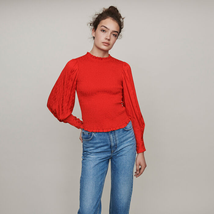 Top fruncido en Jacquard de raso : Tops y Camisas color Rojo