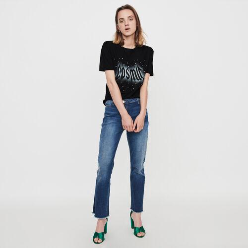 Camiseta decorada con strass : Colección invierno color Negro