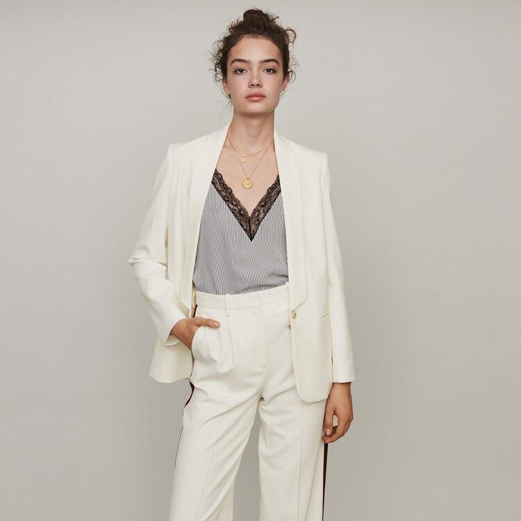 Caraco a rayas y encaje incrustado : Tops y Camisas color Blanco/Negro