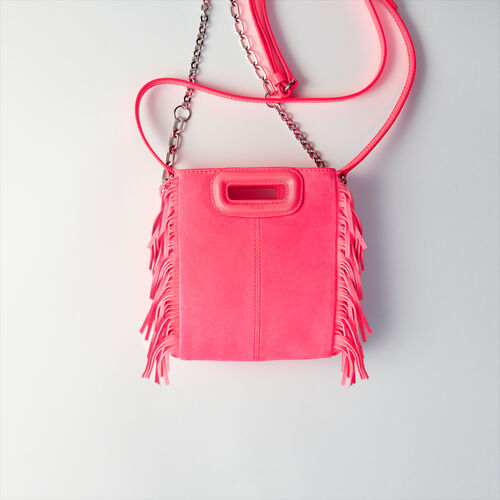 Quilted velvet crossbody bag : M Mini color Rosa Flúor