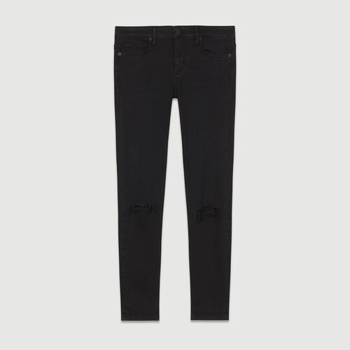 Jean slim 7/8 con bordado : Jeans color Negro