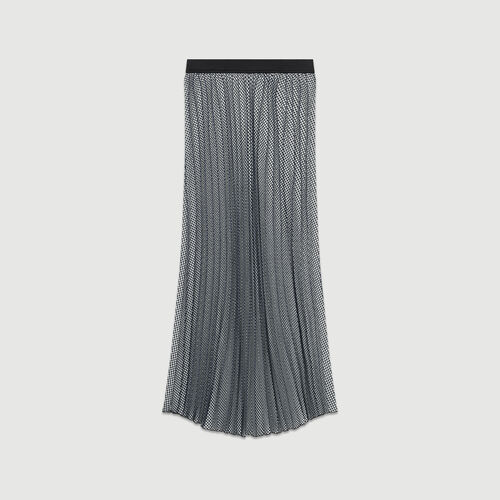 Falda plisada estampada pata de gallo : Faldas y shorts color CARREAUX
