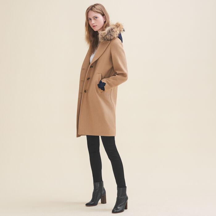 Abrigo largo de lana y cachemira : Abrigos color Camel