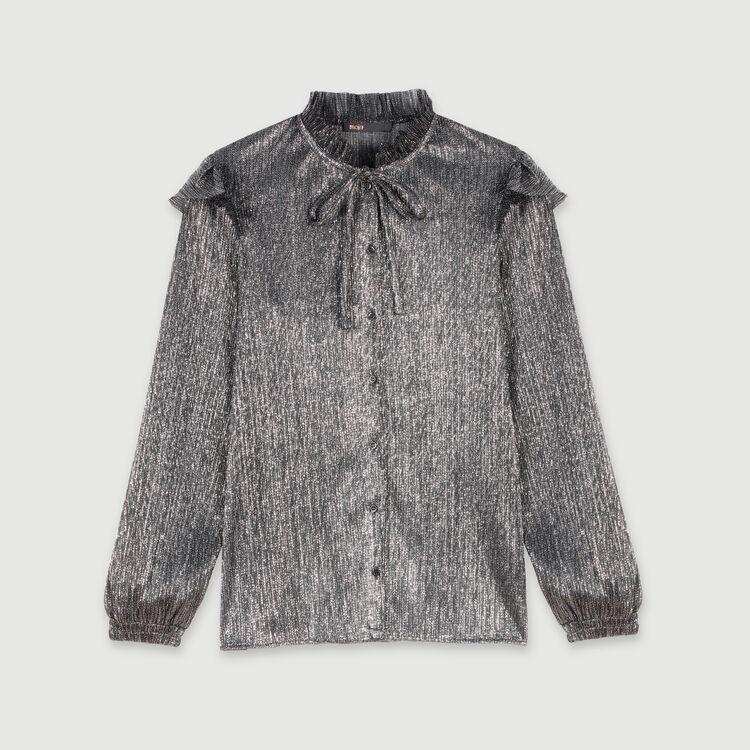 Blusa avolantada en lurex : Tops y Camisas color Plateado
