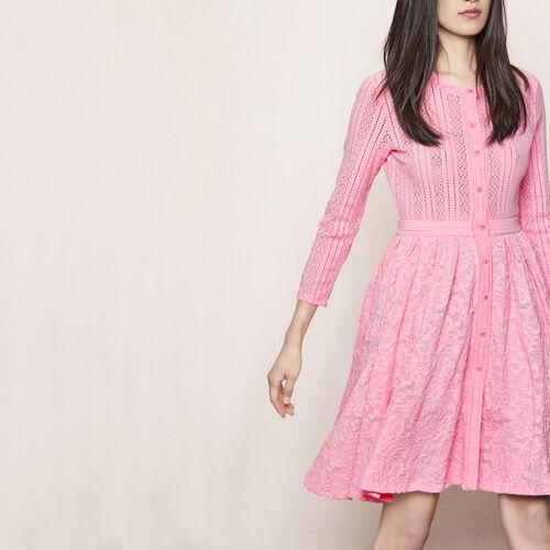 Vestido de encaje stretch : Vestidos color Crudo