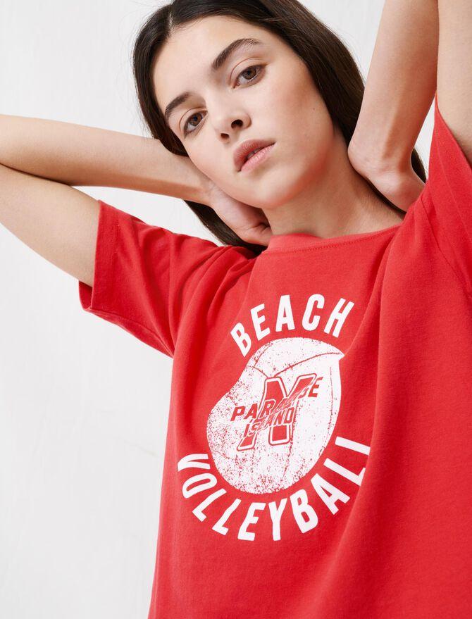 Camiseta roja corta serigrafiada - T-Shirts - MAJE
