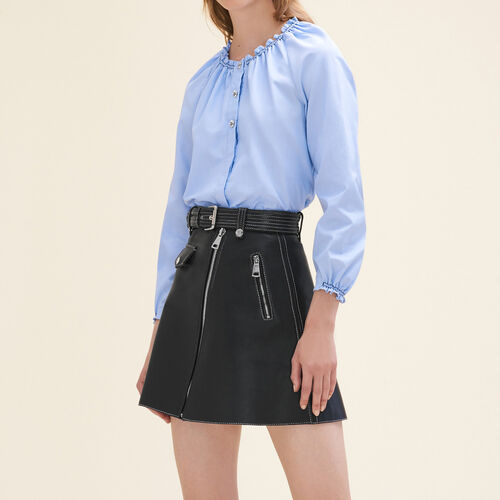 Top estilo camisa de algodón fruncido : Tops color Azul