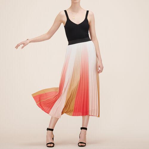Falda larga plisada : Faldas y shorts color Estampado