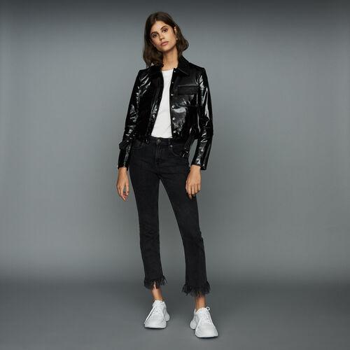 Jean ancho con flecos : Tartan color Negro