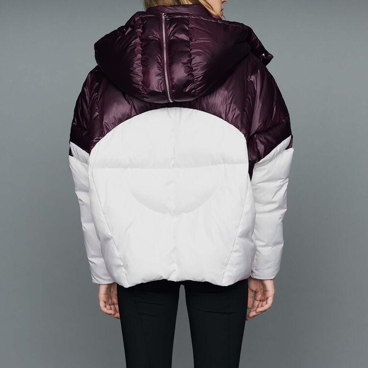 Chaqueta de plumón corta bicolor : Abrigos color Blanco