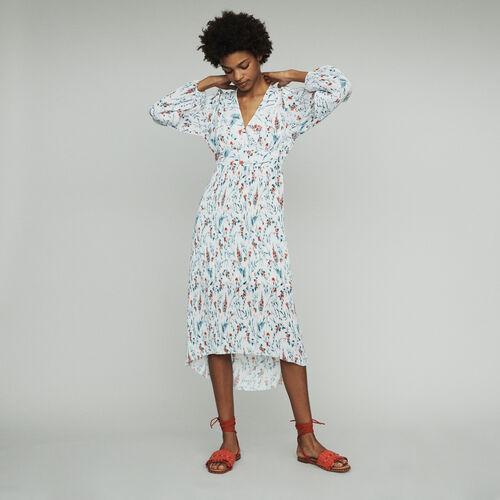 Vestido largo estampado con plisado joya : Vestidos color IMPRIME