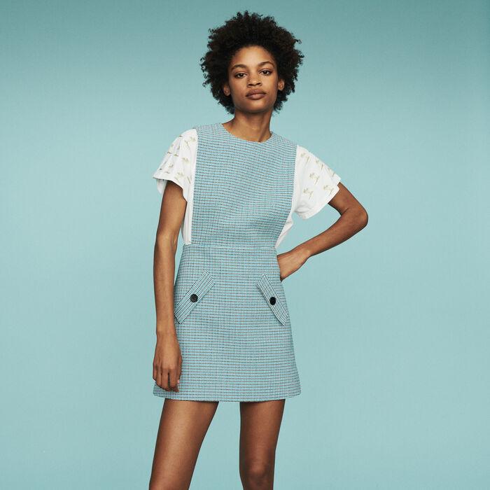 Vestido casulla en tejido tipo tweed : Vestidos color Azul
