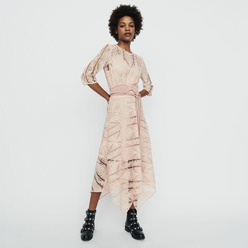 Vestido largo en guipure : Vestidos color Rosa