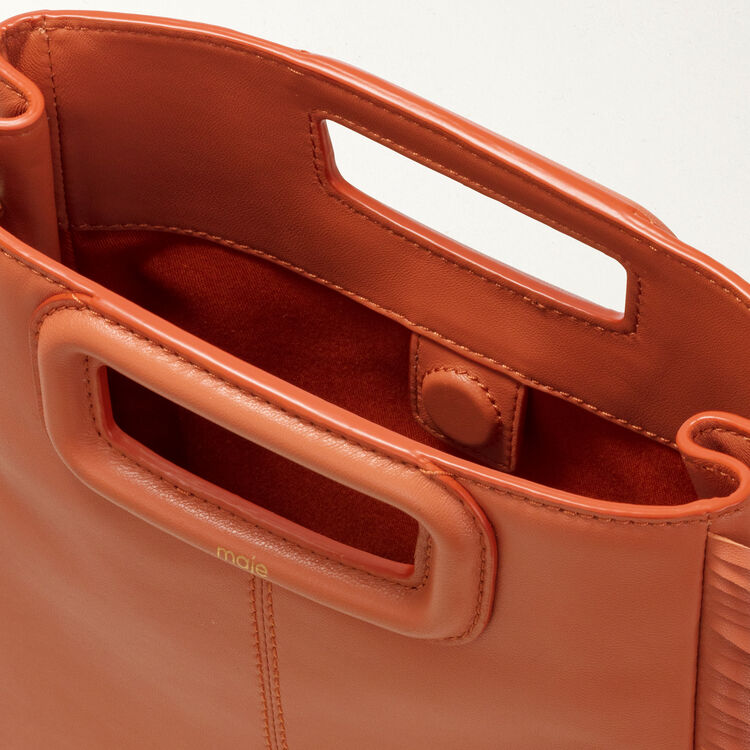 Bolso M de cuero con flecos : Bolsos M color Terracota