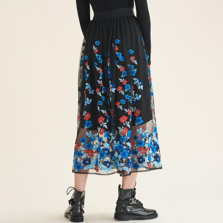 Falda larga con bordados florales : Faldas y shorts color Negro