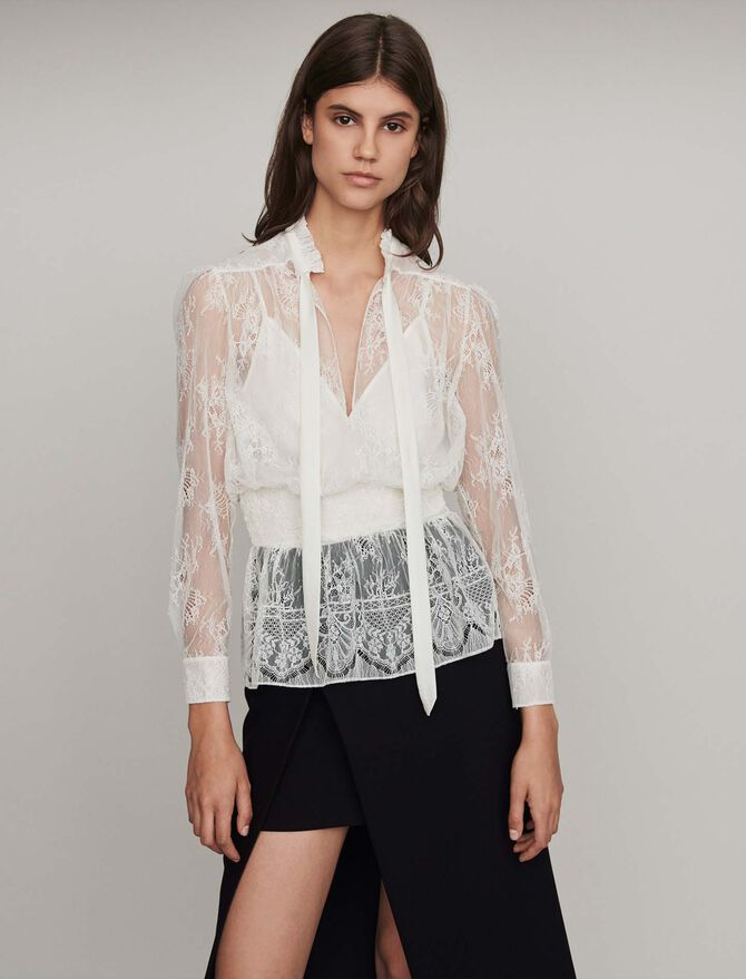 Smocked lace top - Tops y Camisas - MAJE