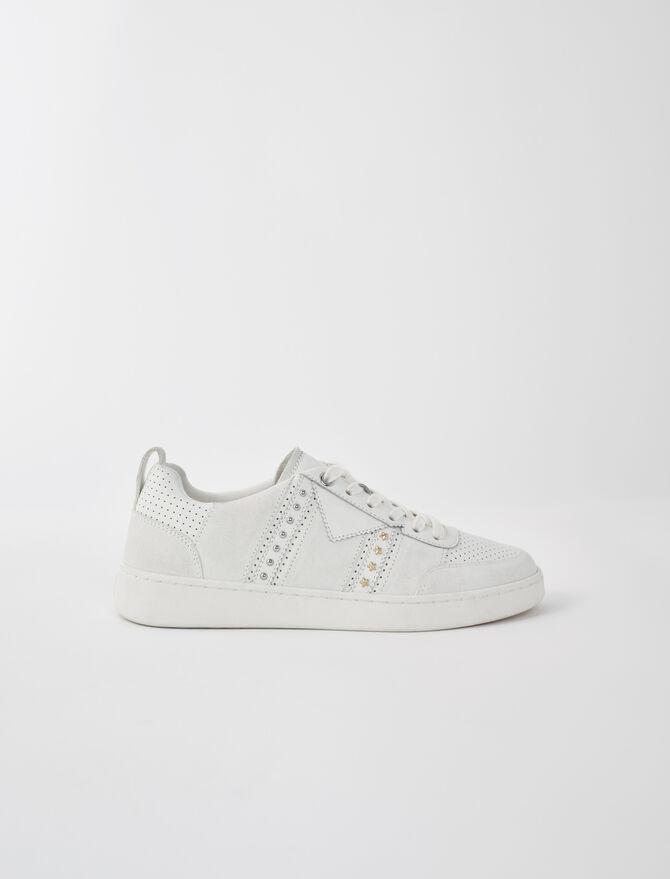 Zapatillas de piel blancas con tachuelas - Sneakers - MAJE
