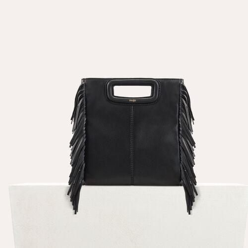 Bolso M de cuero con flecos : Nueva Colección color Negro
