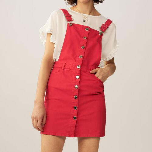 Vestido peto denim : Vestidos color ROUGE