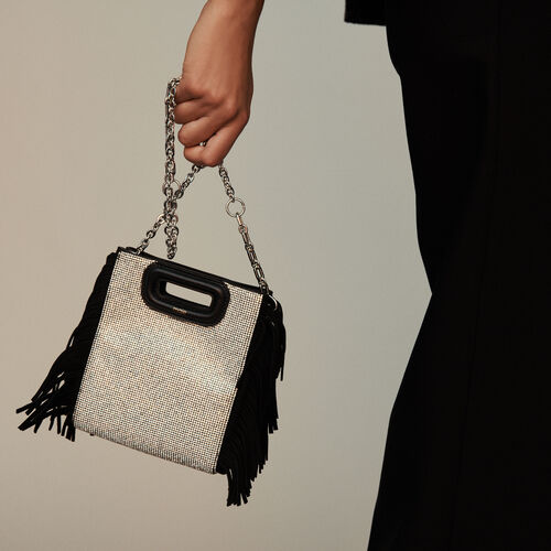 Mini suede and strass M bag : M Mini color Negro