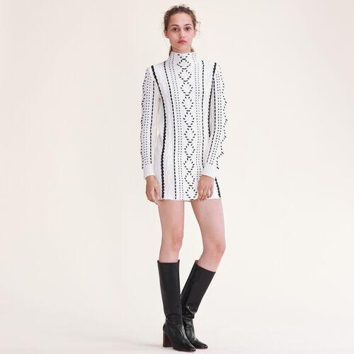 Vestido de punto trenzado : Vestidos color Crudo