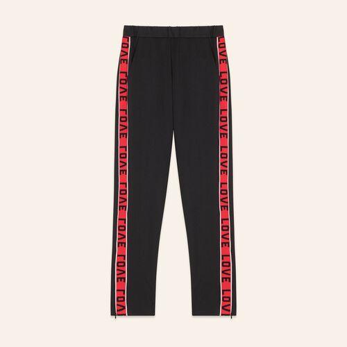 Pantalón de satén con bandas : Pantalones color Negro