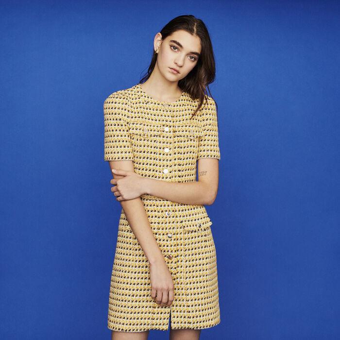 Vestido corto con bolsillos de Tweed : Vestidos color Amarillo