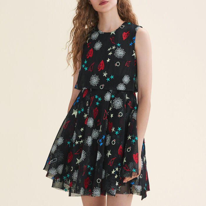 Vestido sin mangas de tul con bordados : Vestidos color Multicolor