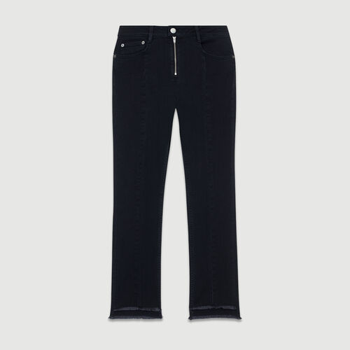 Vaquero asimétrico con flecos : Jeans color Gris
