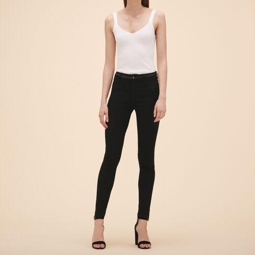 Vaquero ajustado de algodón : Jeans color Negro