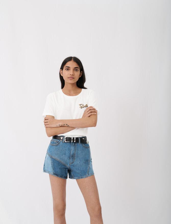Camiseta bordada de manga corta - null - MAJE