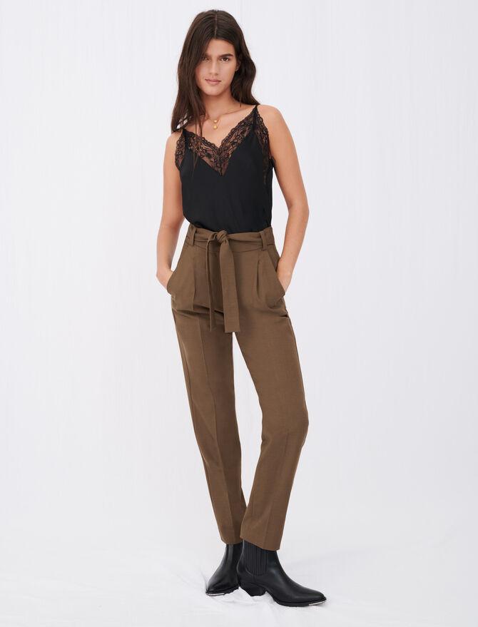 Pantalón de traje recto con cinturón - Pantalones y Jeans - MAJE