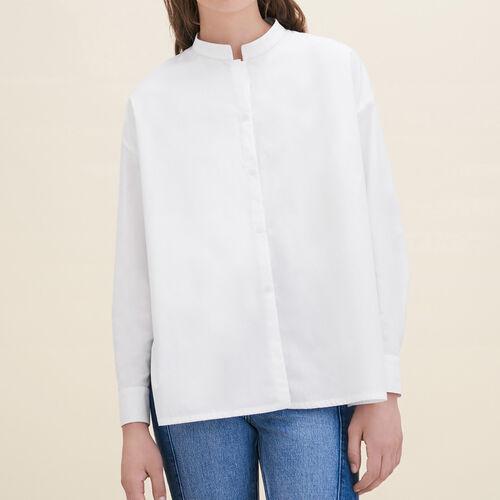 Camisa asimétrica de popelina : Tops color Blanco