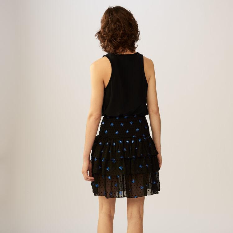 Falda de volentes en plumetis : Faldas y shorts color Negro