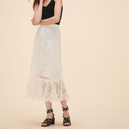 Falda larga de encaje : Faldas y shorts color Blanco