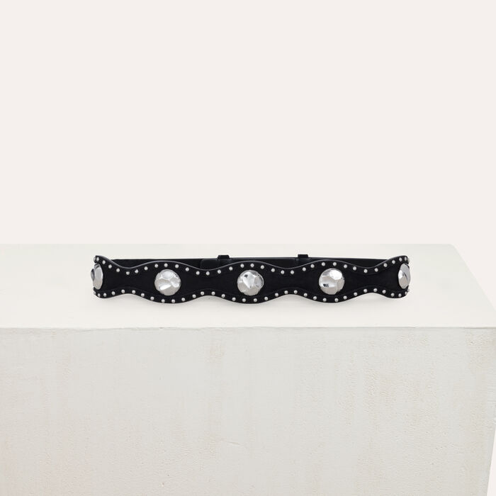 Cinturón tiro alto de gamuza : Cinturones color Negro
