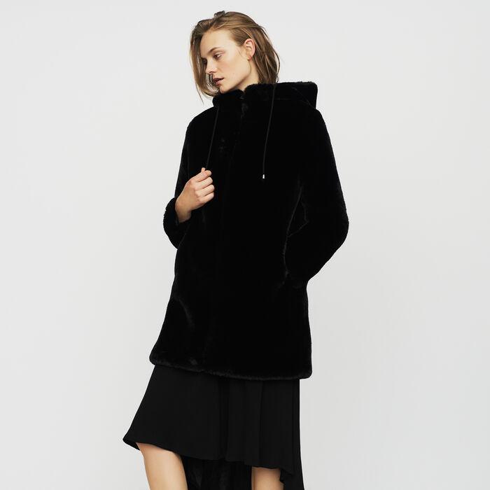 Cazadora de piel falsa con capucha : Abrigos color Negro