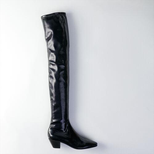 Botas altas de tacon en vinilo stretch : Botas y Botines color Negro