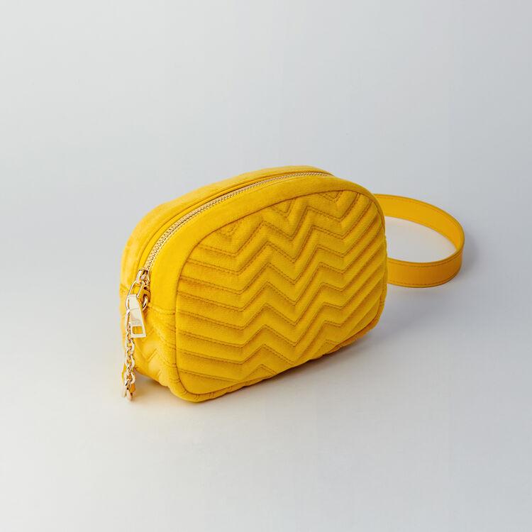 Quilted velvet shoulder bag : Sami bag color Amarillo