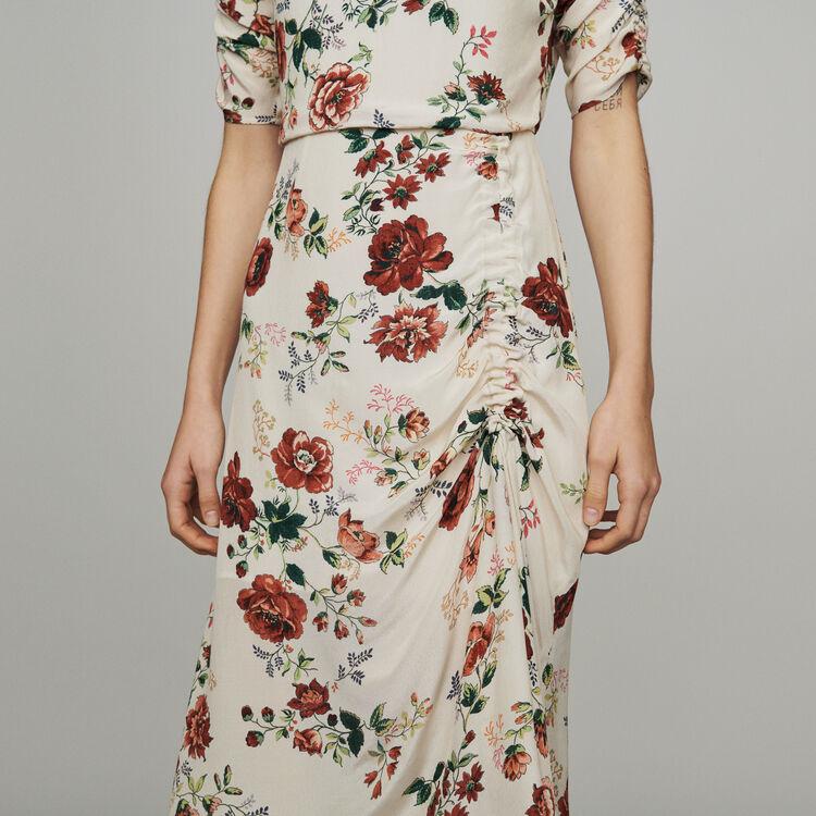 Vestido largo fruncido estampado floral : Vestidos color Estampado